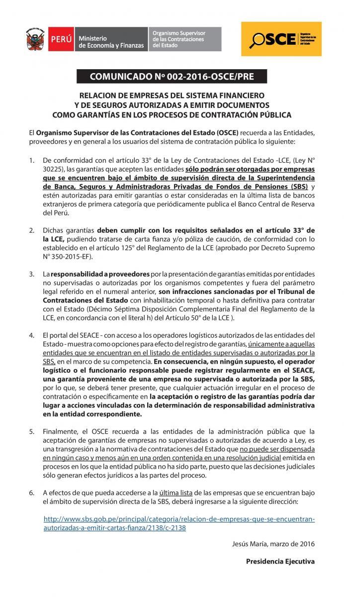 Relación de Empresas que se Encuentran Autorizadas a Emitir Cartas ...